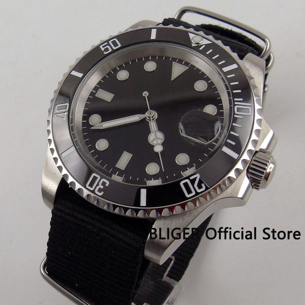 лучшая цена Sapphire Crystal 40MM BLIGER Black Sterile Dial Luxury Mechanical Men's Watch Nylon Strap MIYOTA Automatic Movement Wristwatch