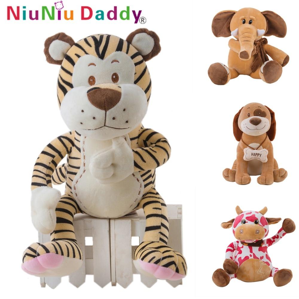Niuniudaddy сладък плюшени играчки животни детски кукли с високо качество пълнени слон плюш тигър меко куче красива крава безплатна доставка  t