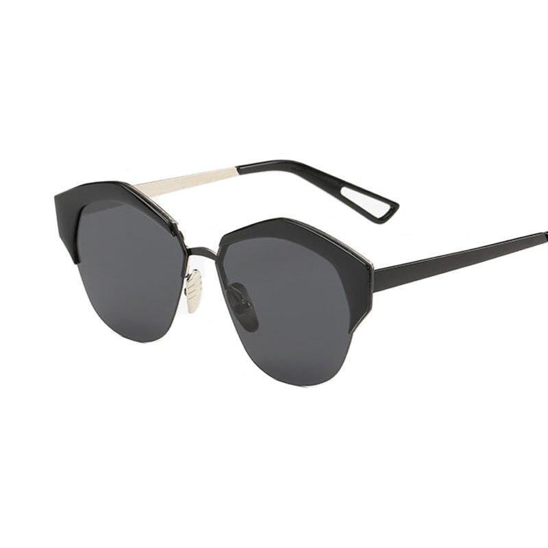Semi-lunettes de soleil sans monture femmes célèbre moyen-marque designer lunettes  de soleil alliage oculus de sol feminino 1acc818d53ce