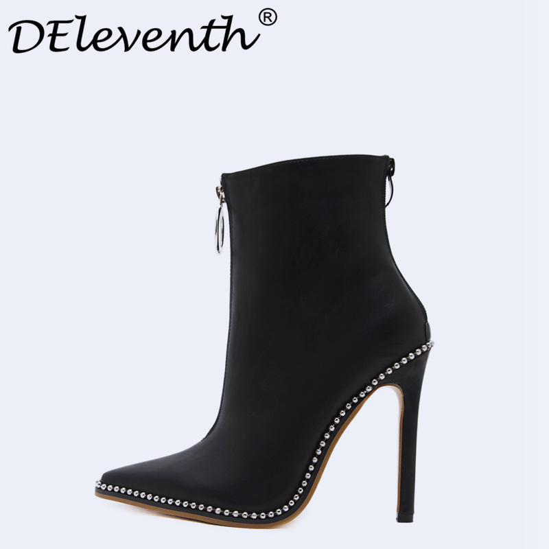 e34092593dee Belle Contracted Style Women Evening Party Shoes Front Back Zipper Beading  Pointed Toe High Heel Boots Shoes Woman Ankle Boots