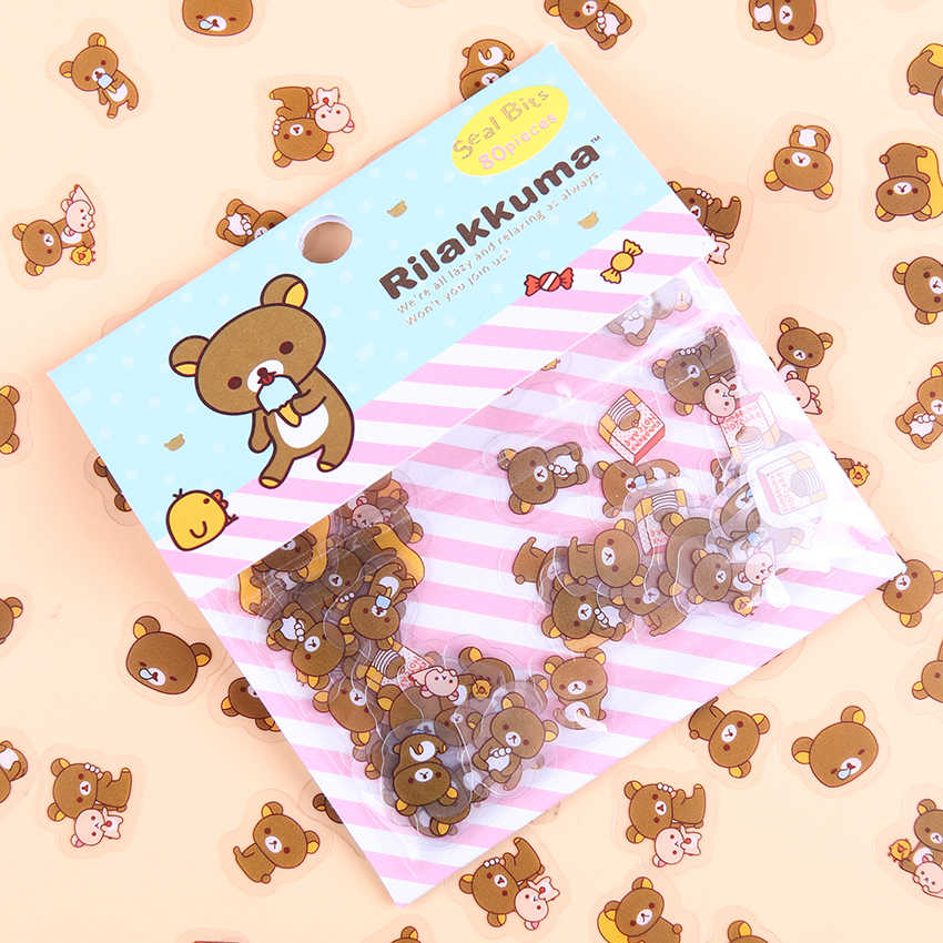 80 stks/partij Rilakkuma Mini Papier Sticker Zak DIY Dagboek Planner Decoratie Sticker Album Scrapbooking Kawaii Briefpapier Stickers