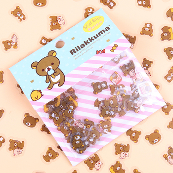 80PCS/lot Rilakkuma Mini Paper Sticker Bag DIY Diary Planner Decoration Sticker Album Scrapbooking Kawaii Stationery Stickers 2 pcs lot vintage sweet life paper sticker diy scrapbooking diary album label sticker post kawaii stationery school supplies