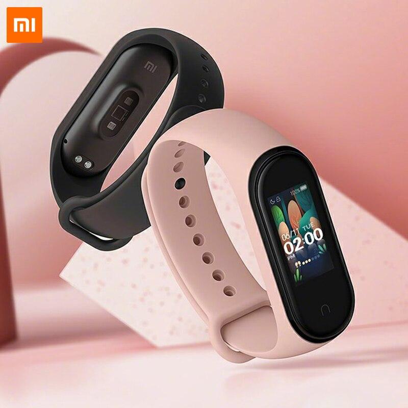 Le plus récent Xiao mi bande 4 bracelet intelligent 0.95 pouces Amoled couleur écran 5atm étanche fréquence cardiaque Fitness Bt5.0 Ble mi Fit App