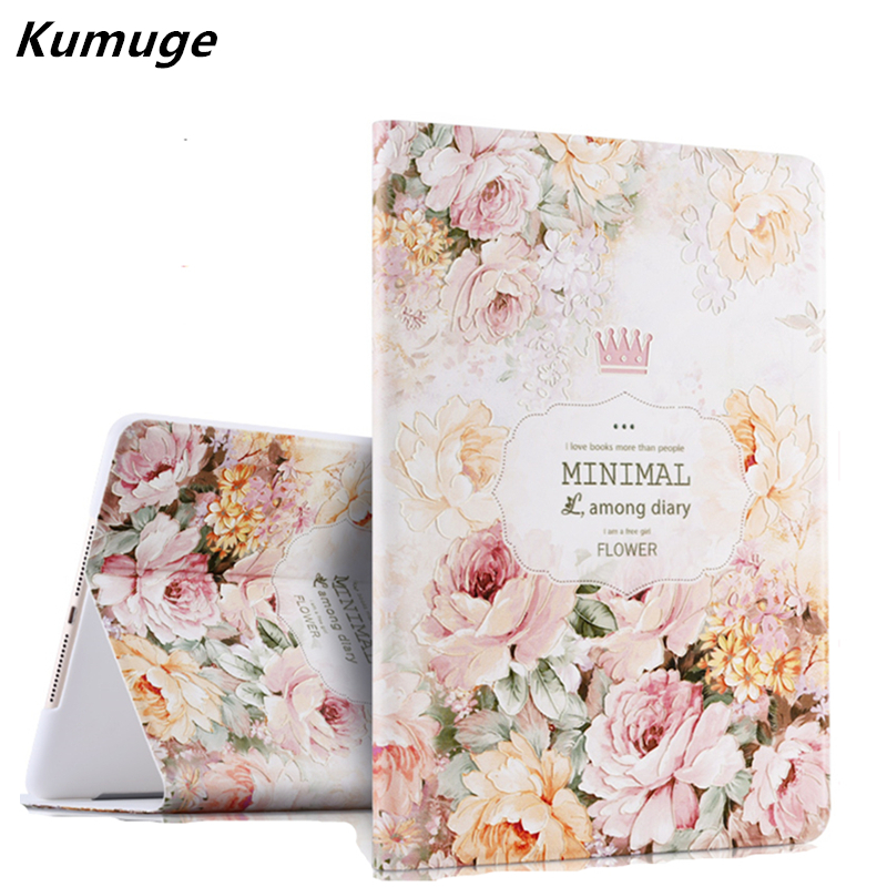 Cover Case for ipad Air 1 Luxury 3D Stereo Relief Painting Flower Smart Magnet Leather Stand Case for iPad 5 Capa Para+Film +Pen for ipad air glittery powder imprint butterfly flower leather smart casing rose gold