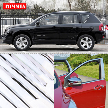 TOMMIA Car Full Window Molding Sill Trim Chromium Styling Strips Stainless Steel For Jeep Compass 2008-2016