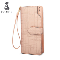FOXER Women Cowhide Leather Wallets Purses High Quality Long Wallet Women Wallet Zipper Girls Clutch With