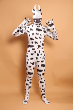 (A5-035)Black And White Cow Lycra Spandex Zentai Suit Halloween Costume,Fetish Zentai Suits For Party Celebration or Role Play