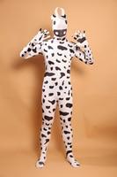 (PHC039) Black White Cow Lycra Spandex Fetish Zentai Suit Halloween Party Celebration Cosplay Costume