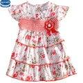 Nova marca 2015 nuevo diseño de moda estampado floral dobladillo con gradas vestidos para niñas de flores vestido de las muchachas del bebé del tutú del verano vestidos
