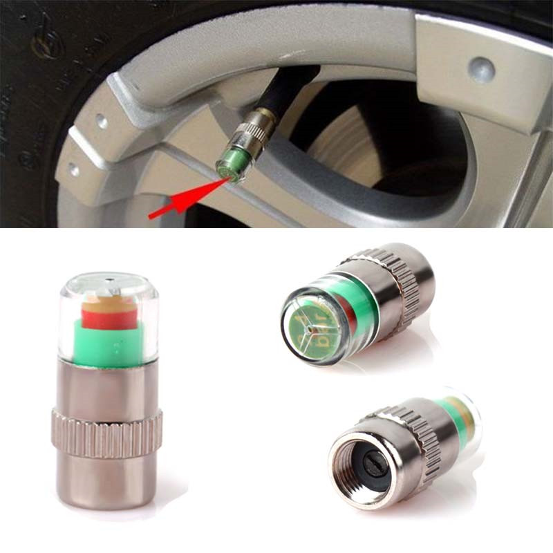 Brand New 1PCS Car Auto Tire Chromed Metal 36PSI Timely Alert Pressure Monitor Valve Stem Cap Sensor Indicator 3 Color Alert