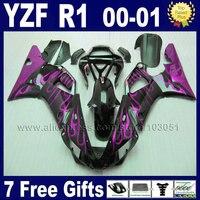 Пользовательские наборы обтекателей для 2000 2001 Yamaha R1 00 01 YZF R1 Обтекатели Aftermarket YZF1000 маленьких пламя тела запчасти