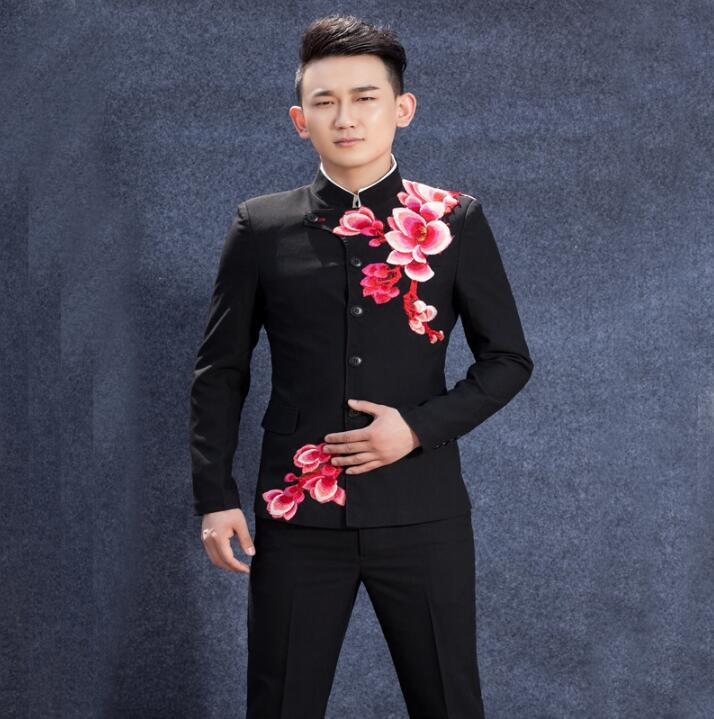 Embroidered Chinese Tunic Suit Men Suits Designs Stage Costumes Singers Men Blazer Dance Clothes Jacket Star Style Dress Punk