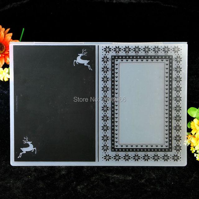 a4 size christmas deer frame plastic embossing folder for scrapbook diy album card tool plastic template