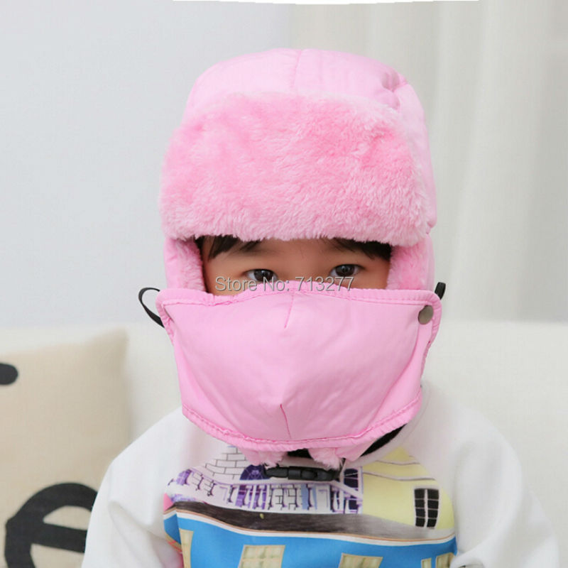 DT505 High Quality Kids Child Winter Russian Hat Cap Plain Aviator Hat Warm Bomber Hat Polyester Earflap Hats for Kids