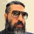 POLYREAL Италия Мужчины Негабаритных Квадратные Солнцезащитные Очки Модный Бренд Дизайнер Женщины Большой Размер Зеркало Солнцезащитные Очки Мужчины Оптические Frame