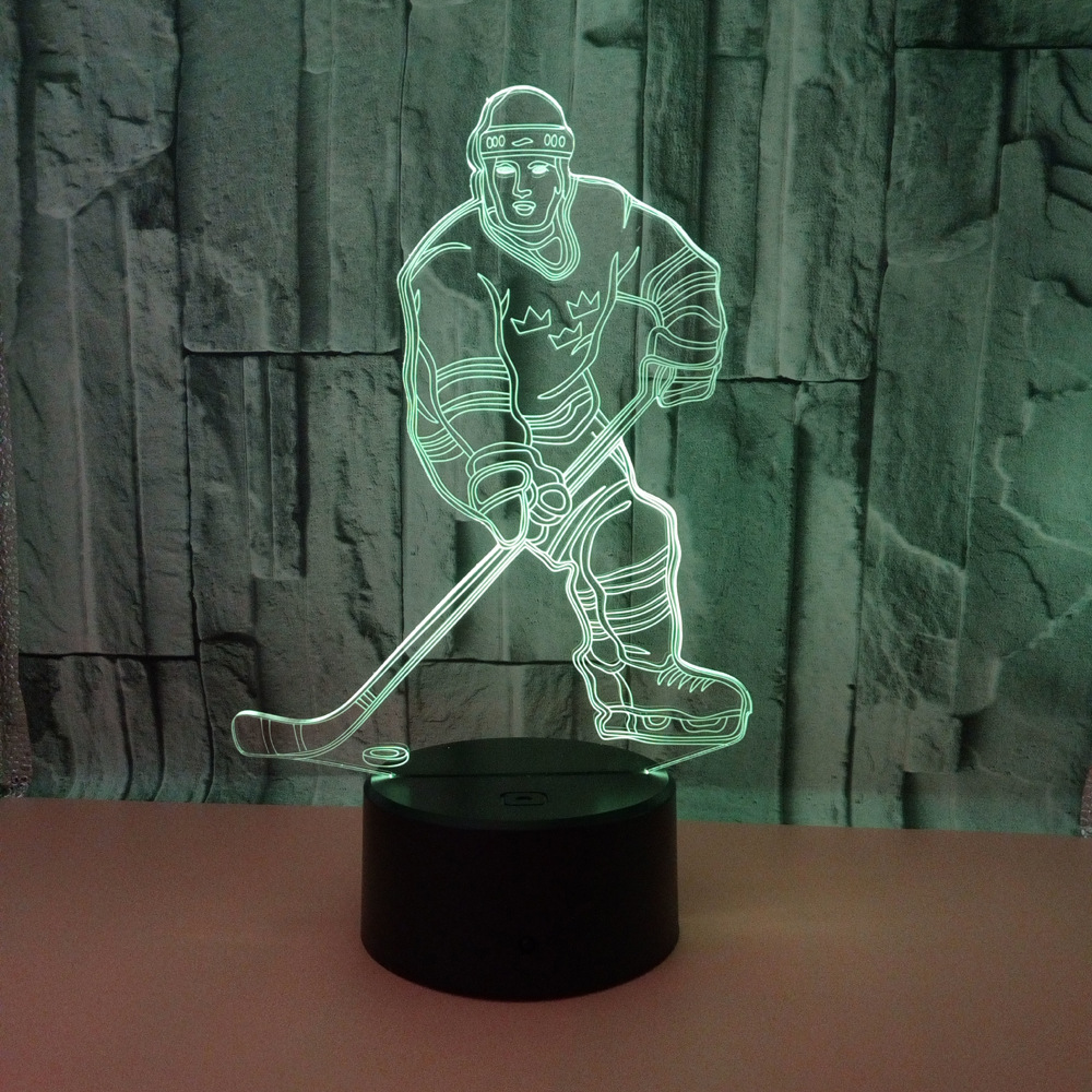 Ice Hockey 3d Lamp 7 Color Led Night Lamps For Kids Touch Led Usb Table Baby Sleeping Night Lights Holiday Favors