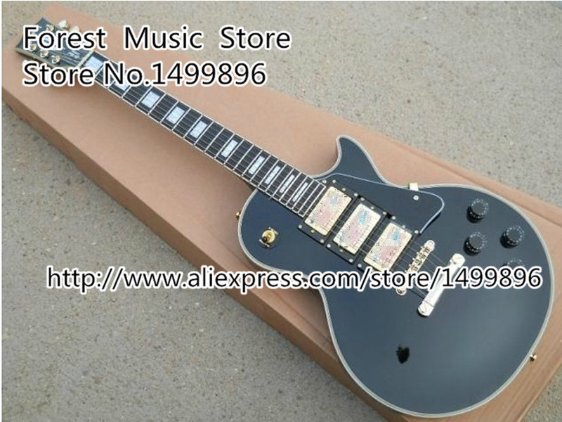 Chinese Musical Instruments Black Three Pickups LP Custom Electric Guitars Kits Left Handed Available vicers custom shop 1959 lp vintage signed faded tobacco burst billy gibbons guitars instruments musical electric guitar