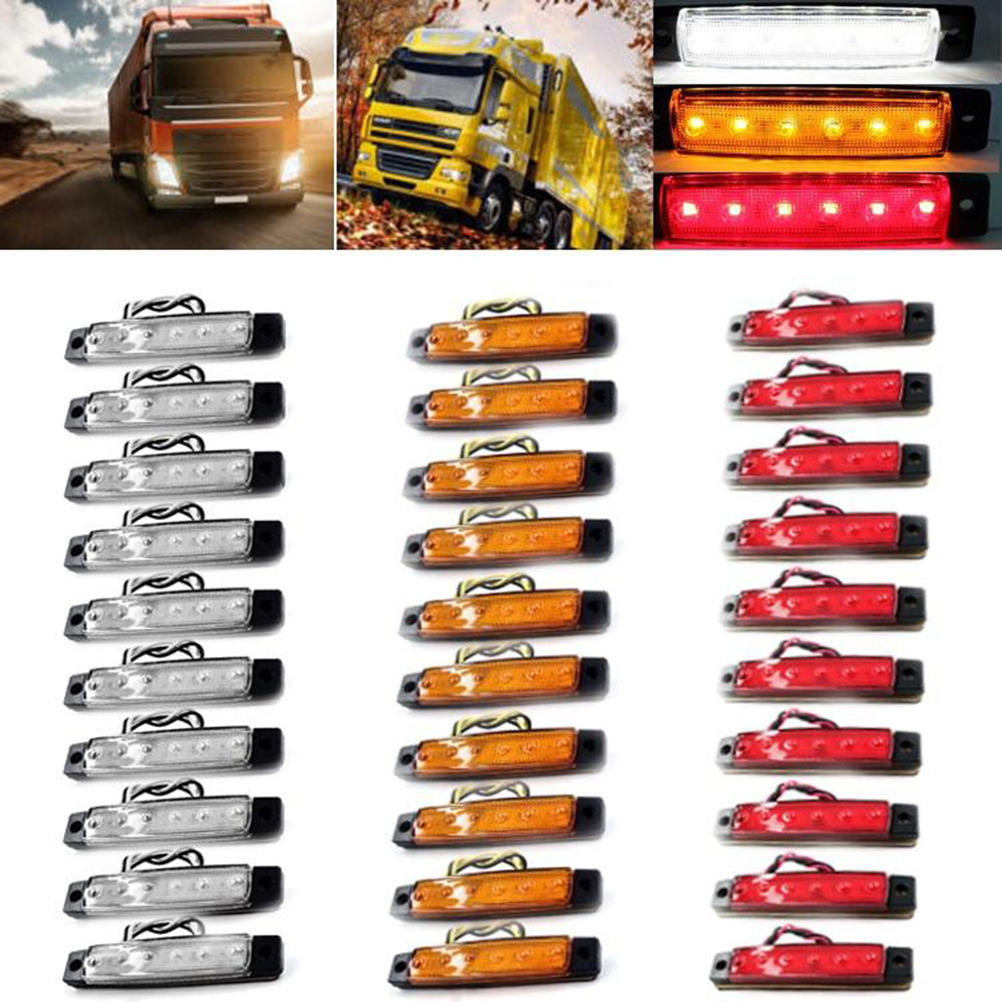 30pcs 6 Led 12v Side Marker Indicators Lights Lamp For Car Truck Leds On Cars And Trucks Trailer Lorry Red Yellow White