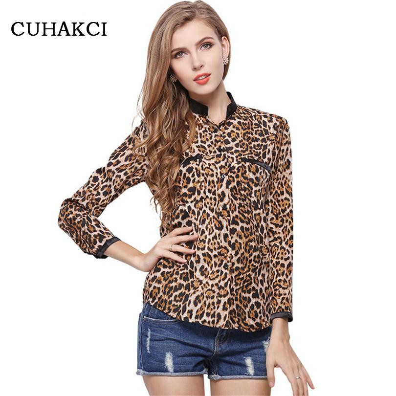 Hot Sales Blusas 2016 New Leopard Womens Fashion Clothing Lapel Puff Slim Full Sleeve Casual Women Chiffon Button Hoodies S053