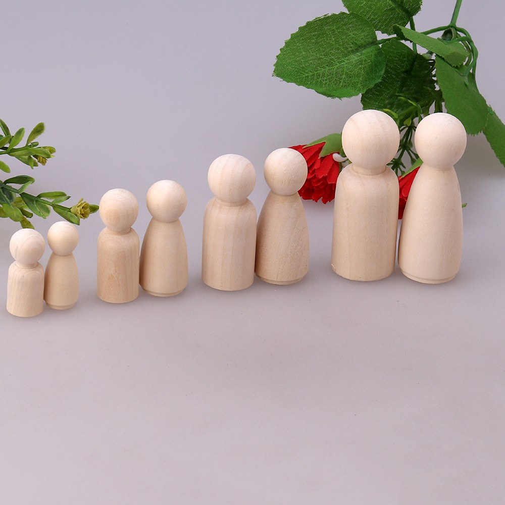 16Pcs Solid Hard Wood People Different Size Natural Unfinished Ramp Preparation Paint Or Stained Wooden Family Wood Peg Dolls