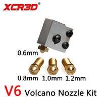 XCR3D gran diámetro V6 bloque de calefacción y boquilla de extremo caliente Volcan Kit 3D impresora parte 0,6/0,8/1,0/1,2mm filamento de 1,75mm