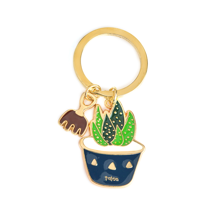 Cute Colorful Cactus Potted succulent plants shaped Keychain Key Chain Keyring Accessories Jewelry Wholesale Gift for friends