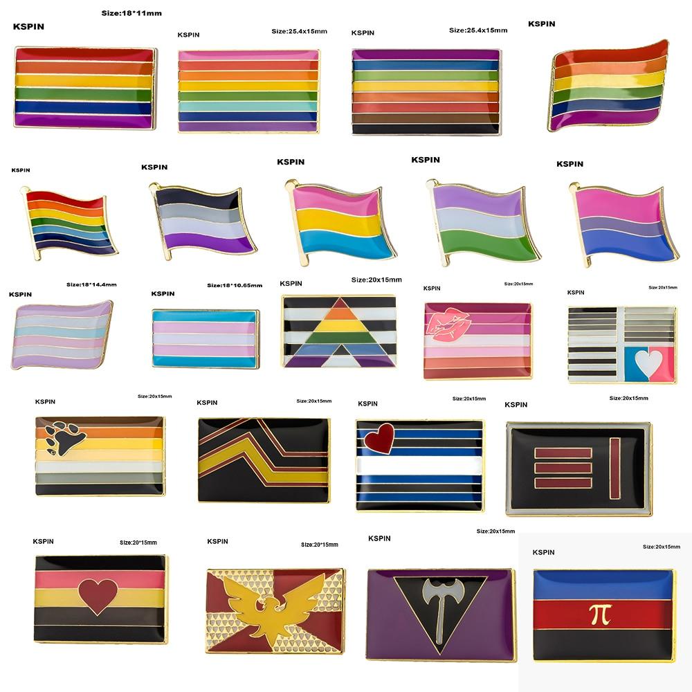 Gay Pride Intersex Pride Asexual Bisexual Pansexual Genderqueer Transgender Metal Badges For Clothes Brooch Pins