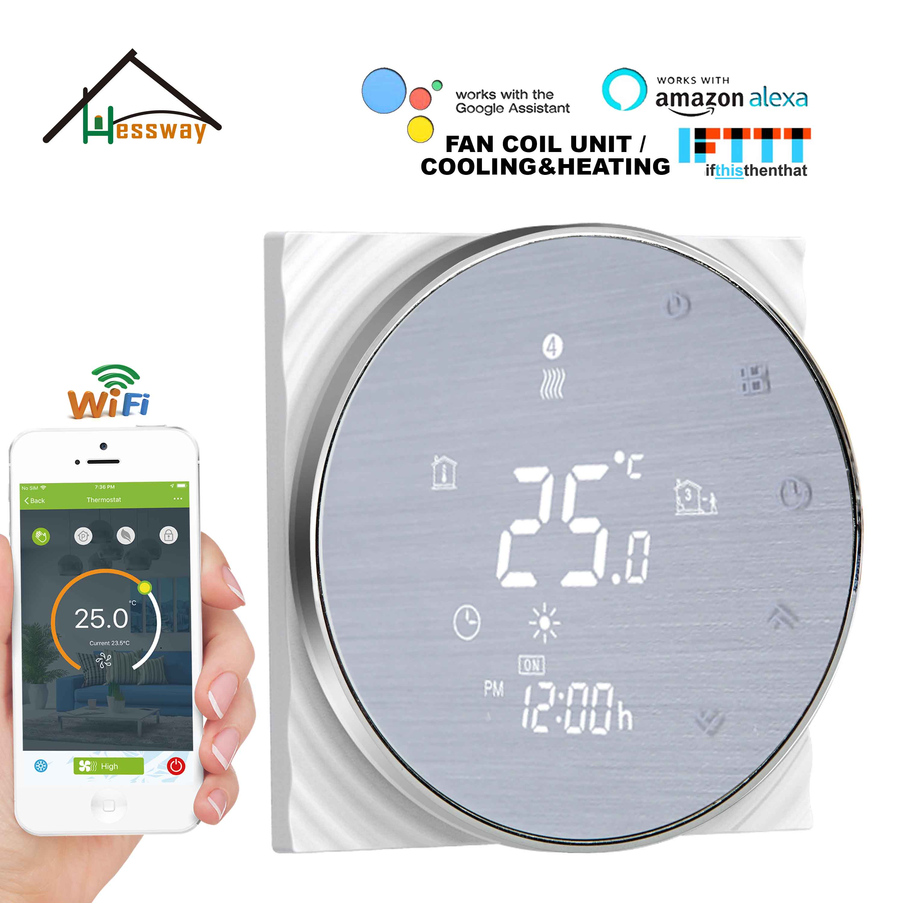 HESSWAY TUYA APP Heat Cool Temp Thermostat WIFI Temperature Control Switch 95~240VAC 24VAC