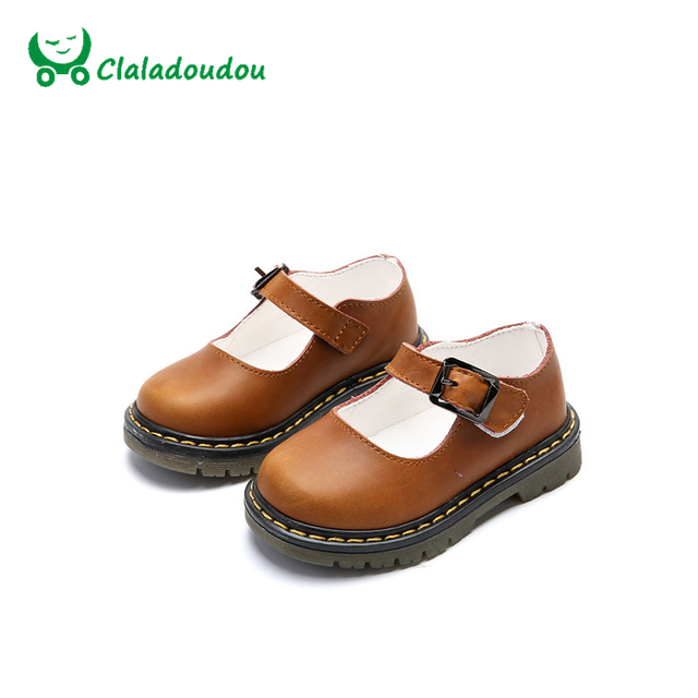 Claladoudou Spring Autumn New Kids Shoes Genuine Leather Brown Korean Girls Shoes Children Performance Wide Formal Shoes