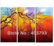 Beatiful  plum flower 3panles modern fashion oil painting on canvas for decoration free shipping