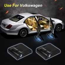 2pcs pair Wireless Car Door Badge Lights LED Laser Ghost Welcome Light Logo No Drill Type