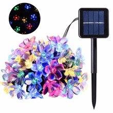 цена на 5M 7M 50LED Solar String Flowers Fairy Lights  Waterproof Outdoor Solar String Lights Decorated Garden Christmas Holiday light
