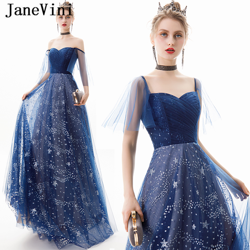 JaneVini Vintage Navy Blue A Line Long Prom Dresses 2019 Sweetheart Star Pattern Sequined Tulle Floor Length Formal Party Gowns