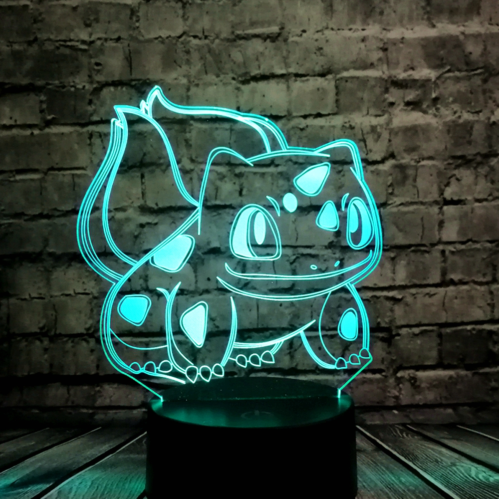 Djur groda frön 3D tecknad USB-lampa Pokeball Bulbasaur Pokémon Go-spel LED Nattlampa Visuell illusion Tabell Holiday Kid Toy