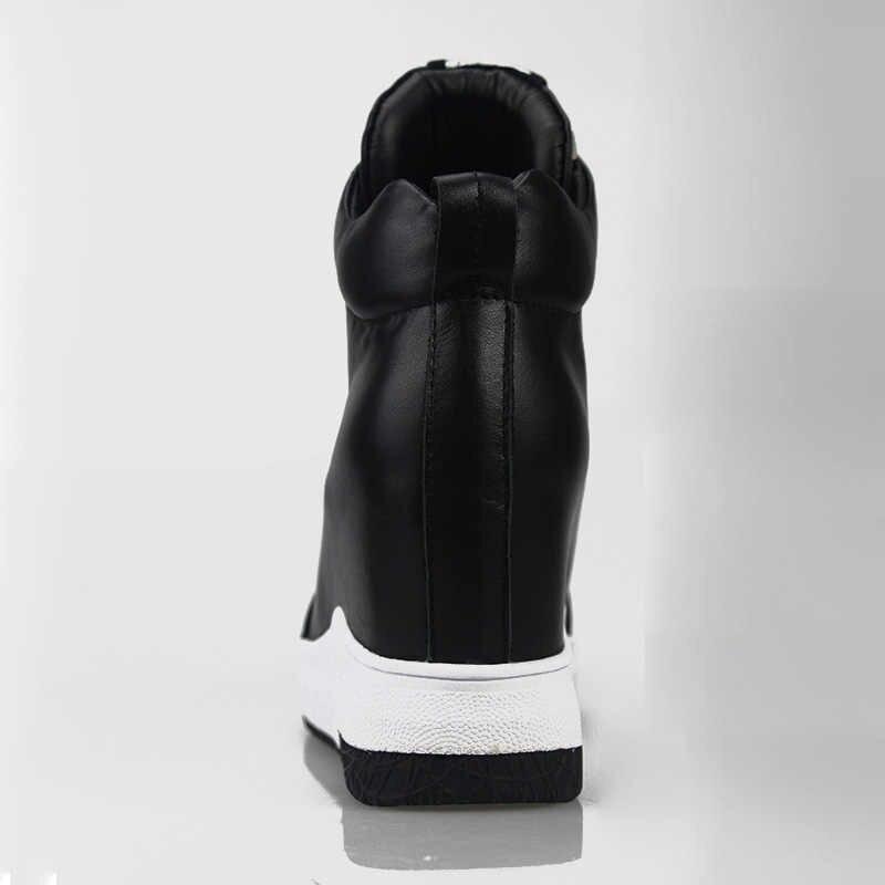2018 Kadın Ayakkabı Spor Ayakkabı Hakiki Deri Yüksekliği Artan Düz Platformu Kadın yarım çizmeler Mektup Siyah Beyaz