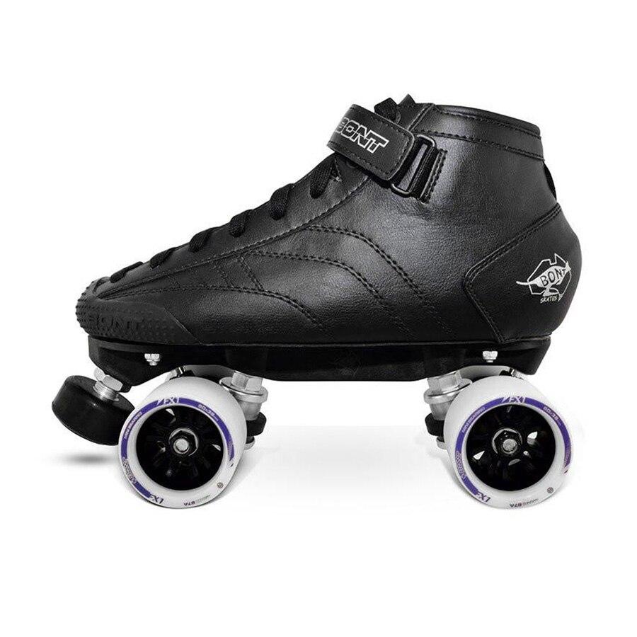 Original Bont Prostar Double Roller Skates Genuine Leather Heatmouldable Glassfiber Boot Base 4 Wheels Skating Shoes Patines bont