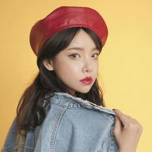 Estilo coreano sentía boina mujeres negro rojo Pu cuero sombrero de la boina  para las mujeres primavera otoño gorra plana Gorras. 42253f1ba77