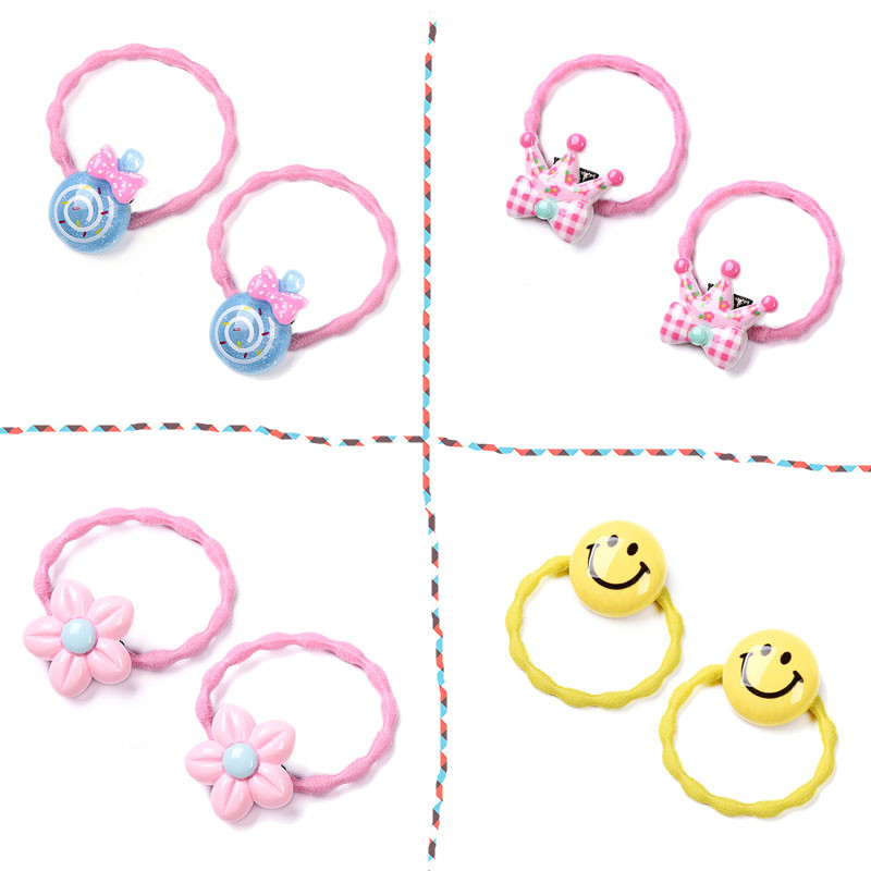 M MISM 2pcs Cute Lovely Candy Crown Hair Elastic Band Hair Accessories Hear Wear Gum Rubber for Kid Scrunchy Girls Children m mism new arrival korean style girls hair elastics big bow dot flora ponytail rubber hair rope hair accessories scrunchy women