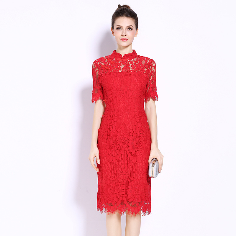 stonewoods 2017 Plus Size L-5XL Summer Dress Sexy Bodycon Lace Hollow Evening Party Womens Women Clothing Beach Club Ladies Red Dresses