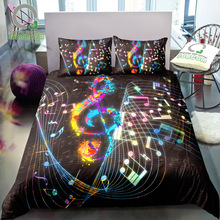 BOMCOM 3D Digital Printing Bedding Set Colorful Music Note Treble Clef Staff on Black 3 Pieces Duvet Cover Sets 100% Microfiber