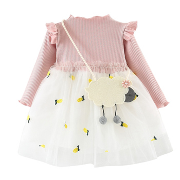 1effdc1c6616 Baby Girls Dress Autumn New Kids Knitted Princess Dress Full Sleeve Cotton  Children Dress Baby Girls Clothes 3M-4T