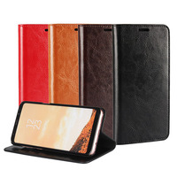 Real Genuine Leather Wallet Case Crazy Horse Patterned Cell Phone Flip Cover Kickstand Mask For Samsung