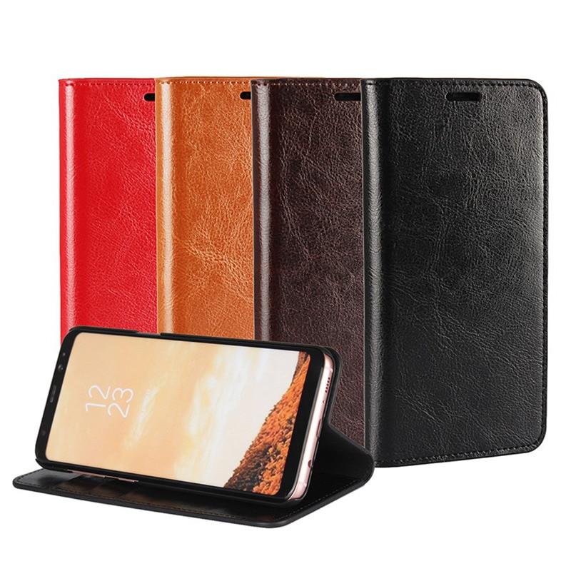 Äkta äkta läder plånbok väska Crazy Horse mönstrade - Reservdelar och tillbehör för mobiltelefoner