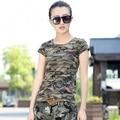 Mulheres Camuflagem Bandeira Tshirt Impresso 2017 Nova Moda 100% Das Senhoras do Algodão Estilo Militar Camiseta Verão Tops Frete Grátis