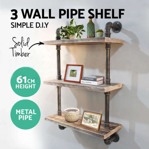 Rustic Wall Shelf Industrial Pipe Shelving Vintage Mounted Bookshelf 3 Level DIY