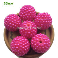 Big Jumbo Hot Pink Resin Rhinestone Beads 12mm 18mm 20mm 22mm 28mm Chunky Bumpy Half Pearls Large Loose Beads Jewelry Making