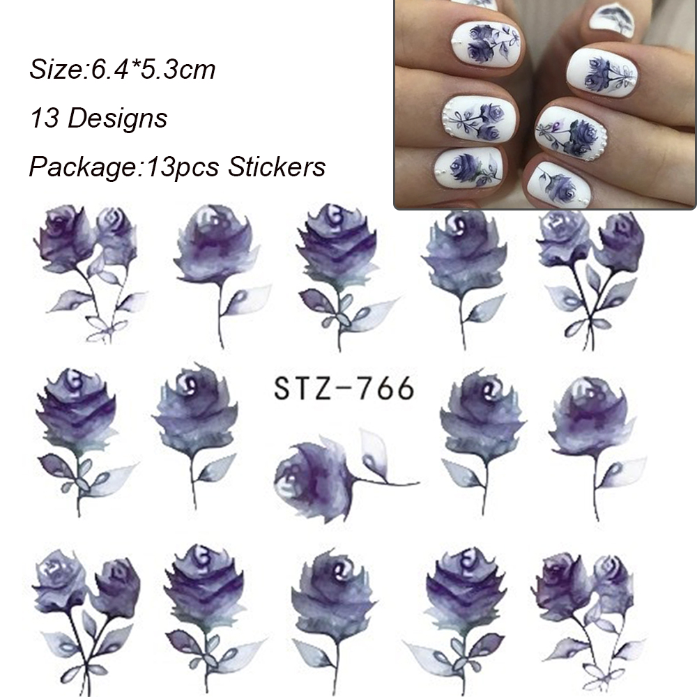 Image 3 - 13pcs/lot Nail Stickers Black Jewelry Nail Decals Flowers Water Transfer Wrap For Nail Art Manicure Accessories TRSTZ766 778 1-in Stickers & Decals from Beauty & Health