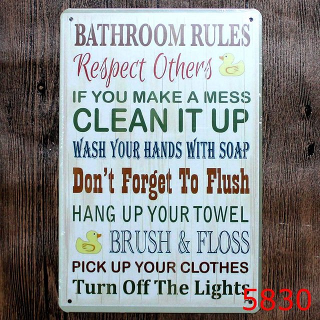 Bathroom Rules Tin Painting Board Vintage Signs Home Decor Bar Wall Sticker 20x30cm