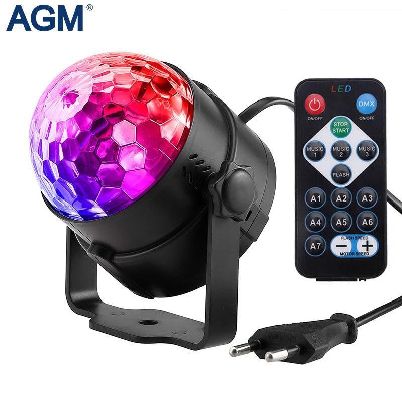 7 colores DJ discoteca bola Lumiere 3 W sonido activado Proyector láser etapa de iluminación RGB efecto de luz de la lámpara de la música de Navidad KTV parte