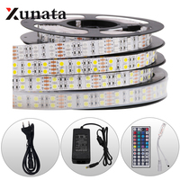 DC12V EU/US/AU/UK SMD5050 Double Row Monochrome RGBW RGBWW Led Strip Light Set With Remote Control 5m/lot